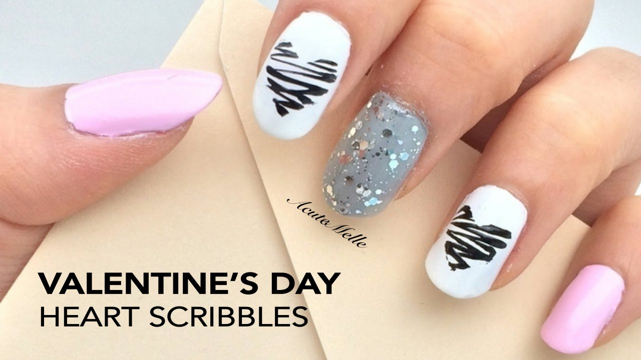 Valentines Day Nail Art Heart Scribbles Youtube