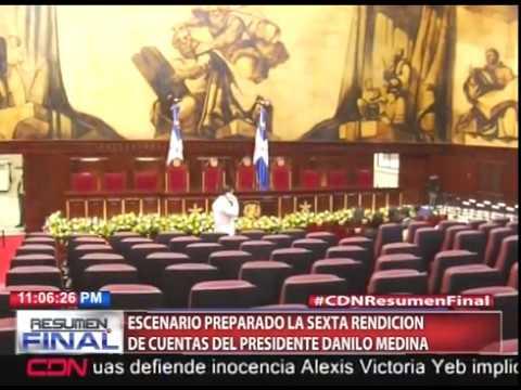Escenario preparado la sexta rendición de cuentas del presidente Danilo Medina