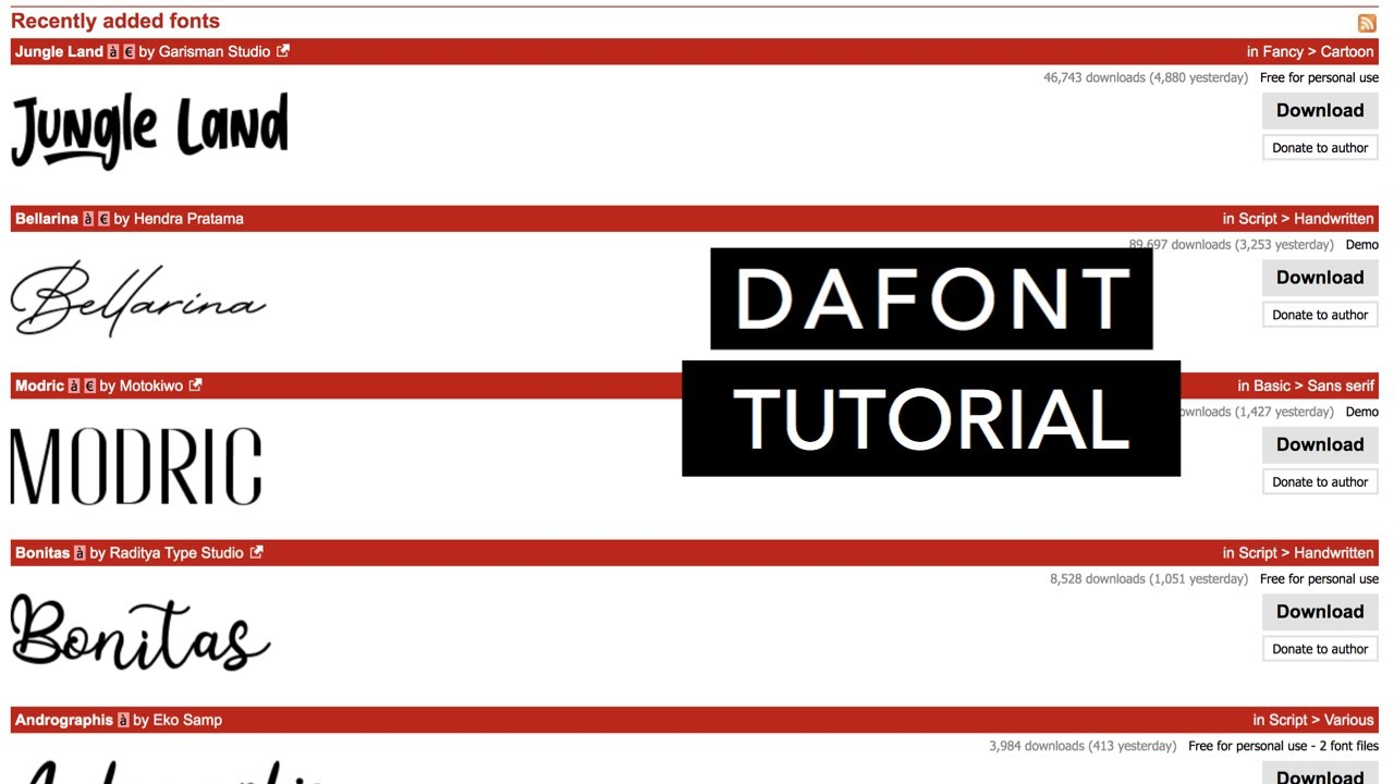 DAFONT TUTORIAL | HOW TO DOWNLOAD FREE FONTS