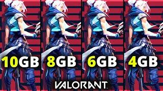 Valorant 4gb vs 6gb vs 8gb vs 10gb   Ram Test