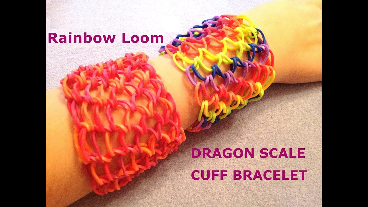 dragon scale tail cuff bracelet rainbow loom how to tut