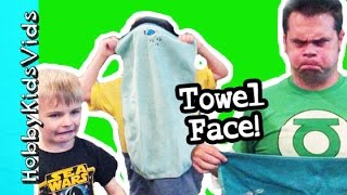 Surprise Towel Faces! Giant Jumping Balls in Trampoline with HobbyKidsVids