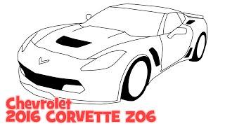 How to draw Chevrolet 2016 CORVETTE Z06 - Как нарисовать машину Шевроле Корвет