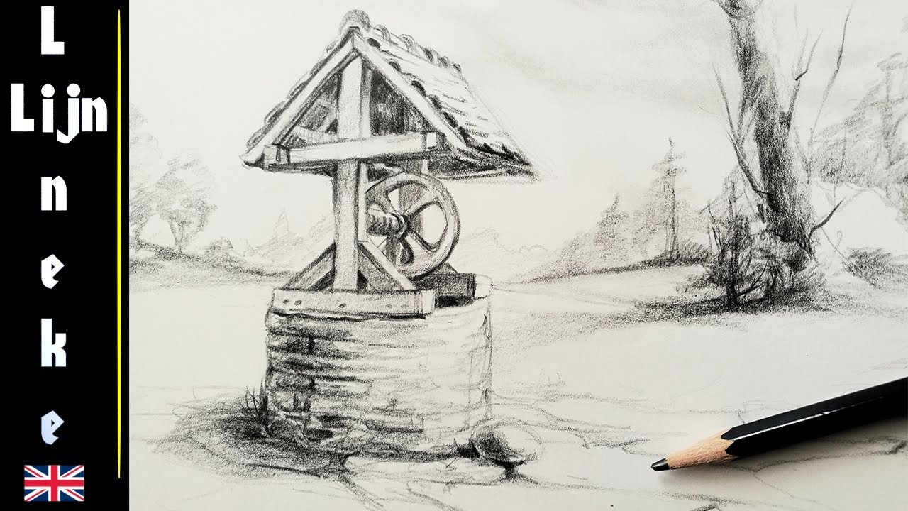 Easy water well for beginners pencil drawing