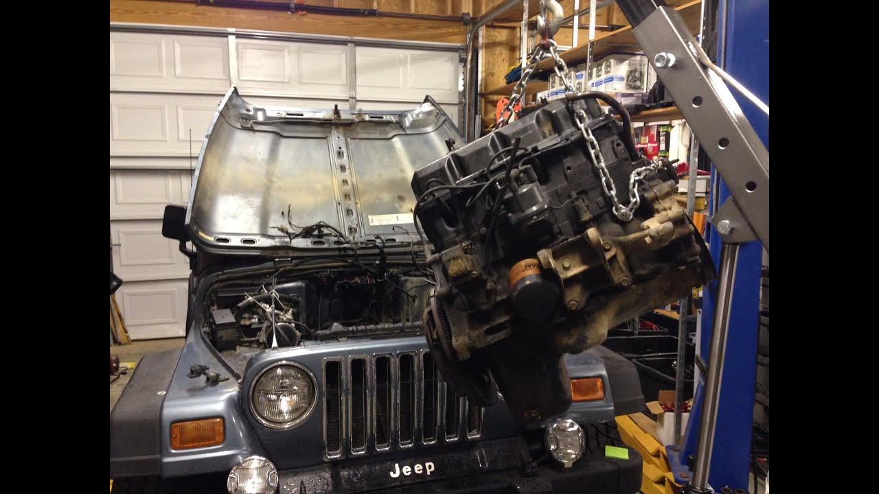1998 Jeep Wrangler 25L 4 Cylinder Engine Removal Guide  YouTube