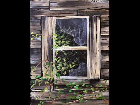 Old Shed Window Step by Step Acrylic Painting on Canvas for Beginners