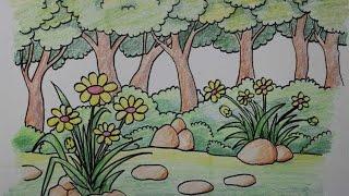 cara menggambar pemandangan alam bunga di hutan