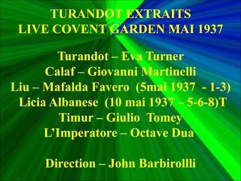 TURANDOT EXTRAITS LIVE COVENT GARDEN MAI 1937