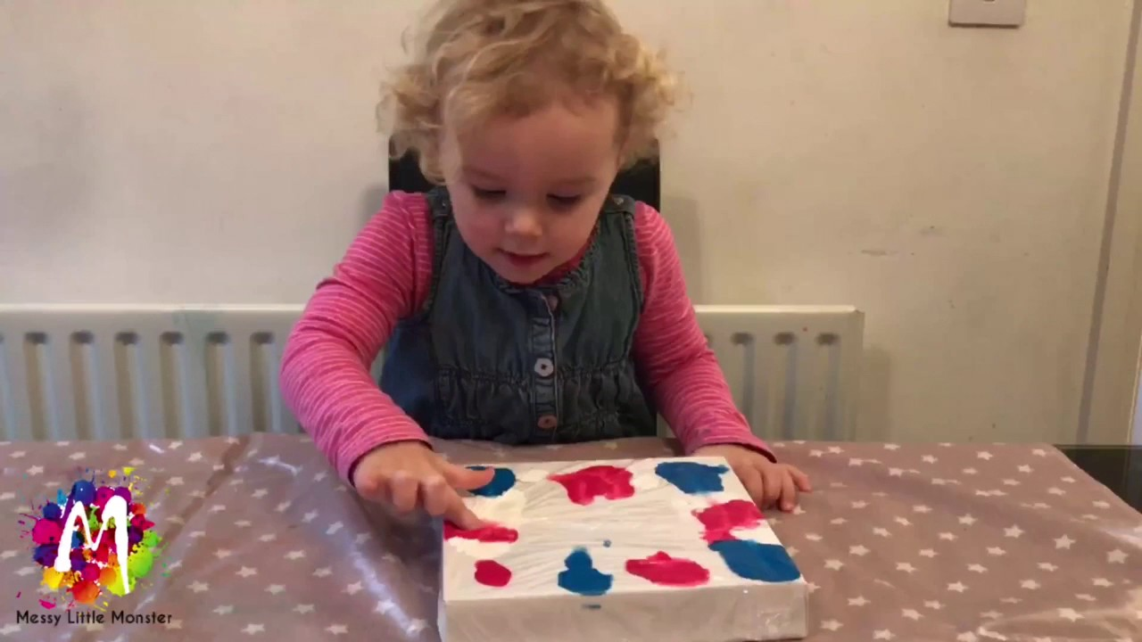 Easy art ideas for kids - NO MESS CLING FILM PAINTING - fun ...