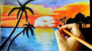 Cara Menggambar Sunset di Pantai simpel