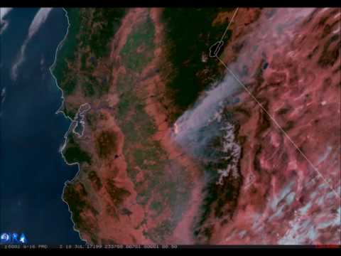 GOES-16 Geocolor Imagery with Fire Temperature of Detwiler Fire