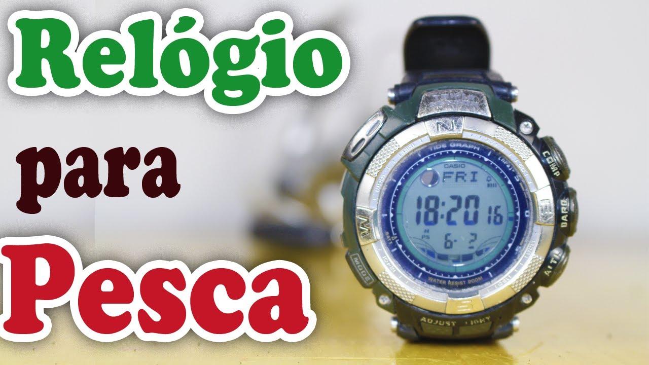 f53d9f887c6 CASIO PROTREK para PESCA de PRAIA - RELÓGIO com TABUAS de MARÉS - PRESSÃO  ATMOSFÉRICA - FASES LUNAR