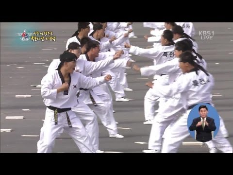 KBS - South Korea 65th Armed Forces Day Military Parade 2013 - Taekwondo Demo [1080p]
