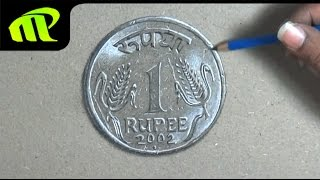 Drawing a One Rupee Coin - Time Lapse