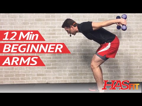 12 Min Beginner Arm Workout for Women & Men with Weights at Home - Easy Arm Workouts for Beginners