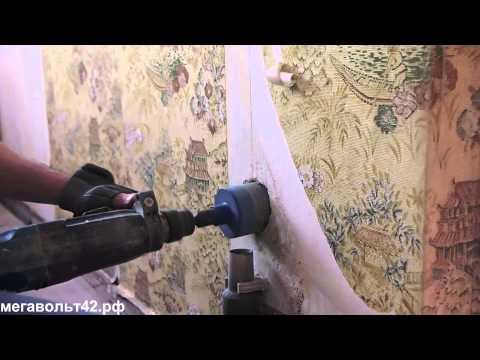 Сверление отверстия под монтажную коробку в бетонной стене алмазной коронкой distar