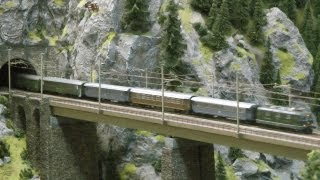 Model Trains at the Gotthard Mountain in Switzerland