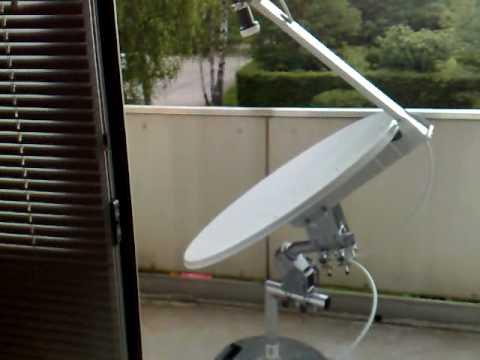 motorized satellite dish with upside down installation