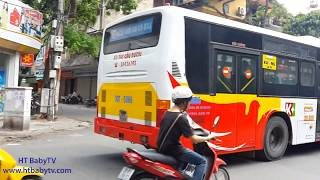 Wheels On The Bus | Song Nursery Rhymes 4 Kids | Bus Ha Noi 33, 14 | HT BabyTV ✔︎
