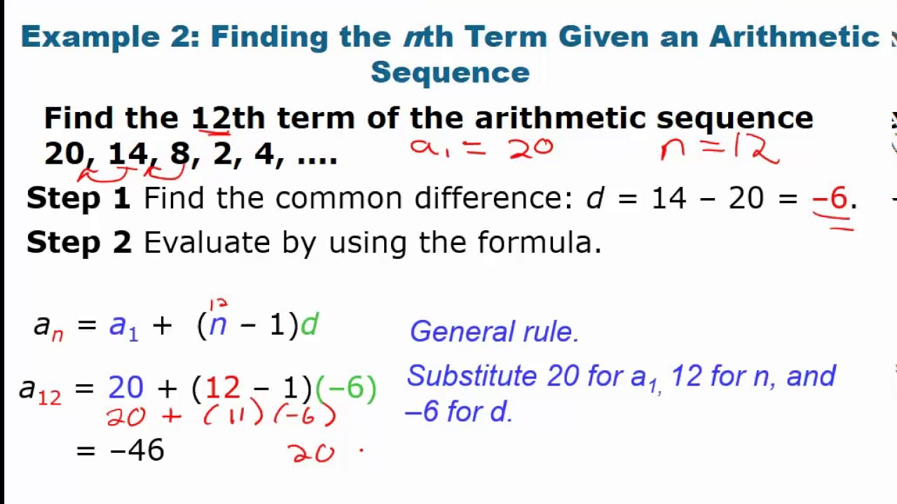 algebra 2 12 3 part 1 arithmetic sequences and series video youtube. Black Bedroom Furniture Sets. Home Design Ideas