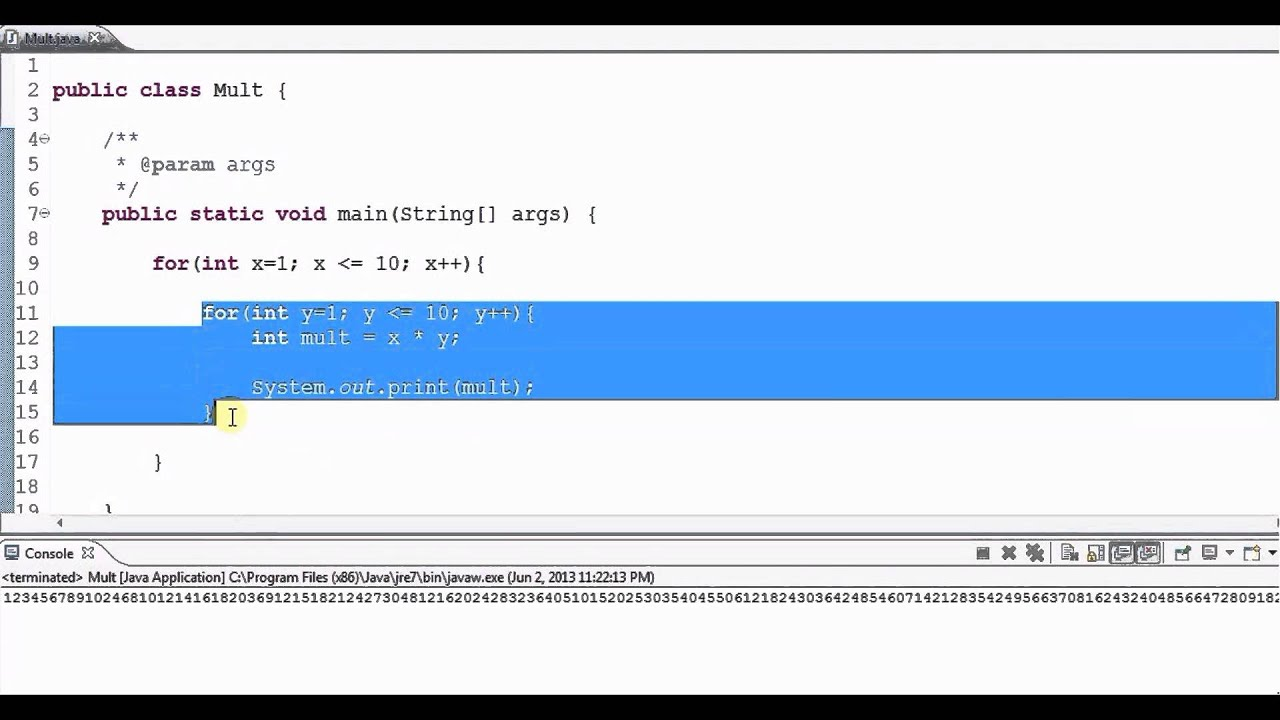 Multiplication table using nested loops youtube multiplication table using nested loops gamestrikefo Choice Image