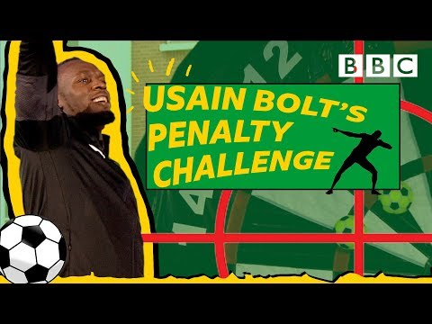 Challenging Usain Bolt to a football-darts mashup! - BBC