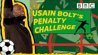 Challenging Usain Bolt to a football-darts mashup! - BBC