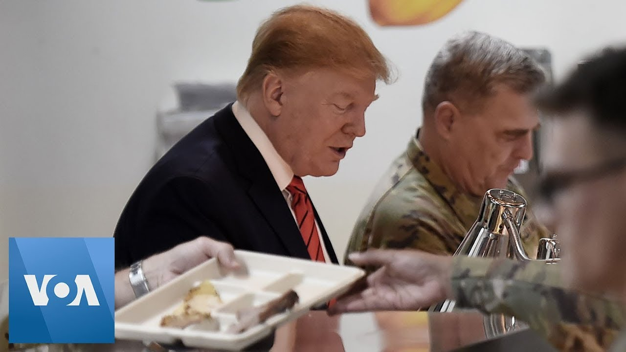 President Donald Trump Serves Thanksgiving Dinner to US Troops During Surprise Visit to Afghanistan