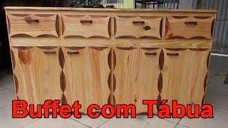 como fazer Armário de tábua de pinus, buffet de madeira