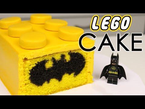 Lego Batman Cake With Chocolate Bat Symbol Inside Youtube