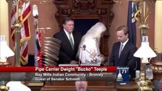 Sen Wayne Schmidt declares Michigan Indian Day September 24 2015