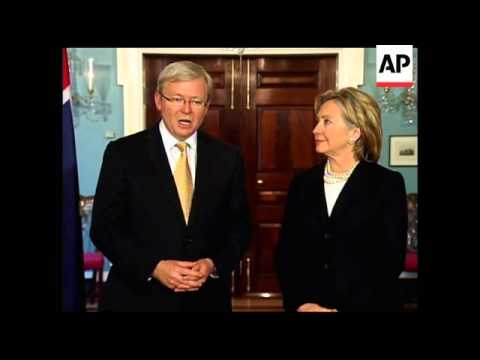 US Sec of State Clinton meets Australian PM Rudd