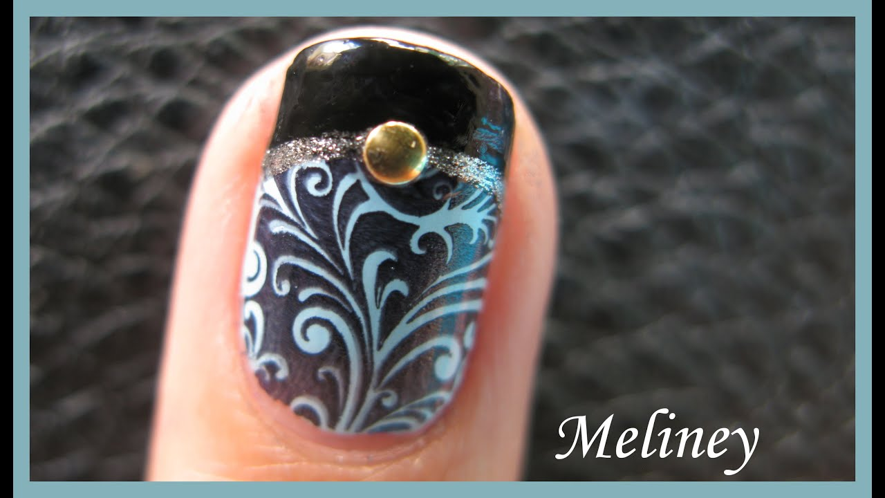 Black french tip manicure with gold shell accent konad stamping black french tip manicure with gold shell accent konad stamping nail art design tutorial short m89 youtube prinsesfo Choice Image