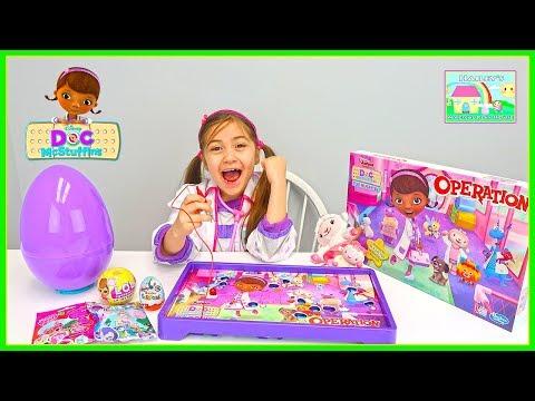 Doc McStuffins Operation Game for Kids w Kinder Egg, LOL Surprise Doll & Blind Bags Surprises