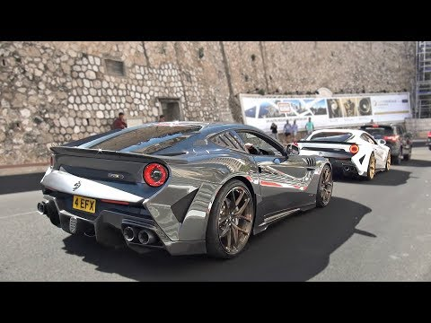 3 Crazy Ferrari F12s in Monaco loud revs and accelerations!