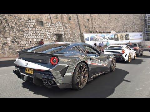 3 Crazy Ferrari F12s In Monaco Loud Revs And Accelerations!