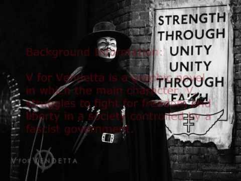 """a comprehensive analysis of v for vendetta a novel by alan moore Analysis even though dis graphic novel called v for """"vendetta,"""" dat v stand fo' way mo' than dat cept fo' definite and indefinite articles, erry chapter title start with the letter v v's got da name-game on lock too: v, evey, velierie, victoria station plus, da latter v looks like the roman numeral 5, reppin not only dat v was in room 5 up at larkhill, but also gives a lil nod to the fifth of november."""