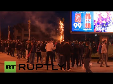 Macedonia: Albanians protest erection of 55 metre-tall cross in Skopje
