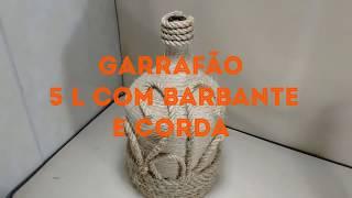 Garrafão 5 litros com barbante e corda