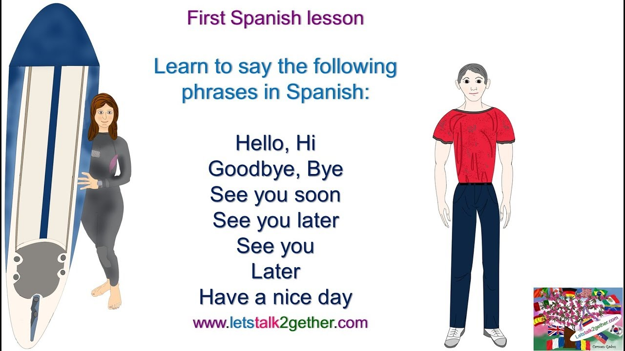 1st Spanish Lesson Greetings Hello Hi Goodbye See You Soon