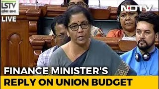 Finance Minister Sitharaman Replies To Debate On Budget In Parliament
