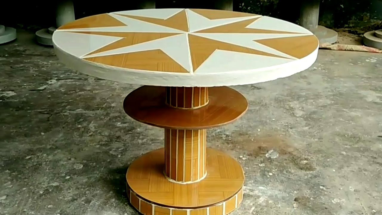 Share details on how to make a unique garden coffee table from cement and ceramic tile # 80