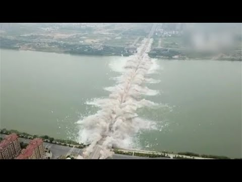 Watch: Spectacular bridge blasted in east China