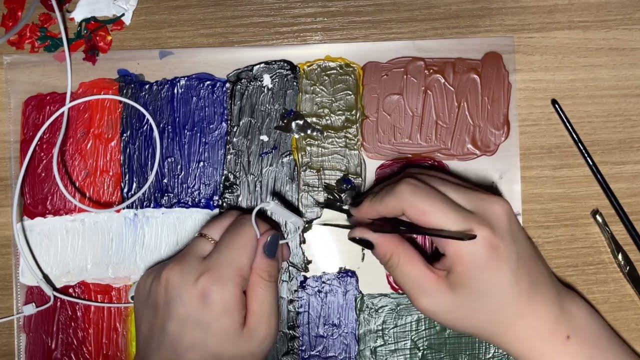 아크릴 물감 뜯는 소리, 핀셋asmr ⚠️거침,자극적 || Acrylic paint ripping asmr