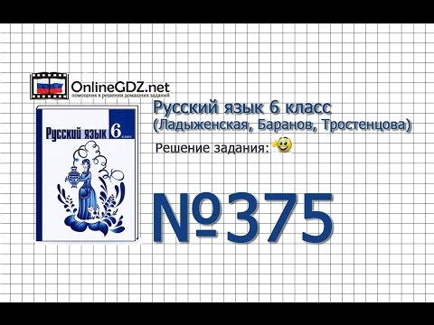 Задание № 375 — Русский язык 6 класс (Ладыженская, Баранов, Тростенцова)