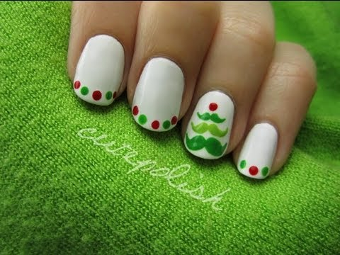 mustache christmas tree nail art
