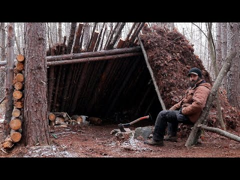 OUTDOOR SHELTER BUILD - Bushcraft, Warm Survival Shelter, Pork Cook Over Fire, Shelter Fire Pit, etc