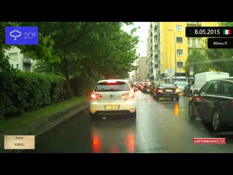 Driving through Milano (Italy) Circonvallazione esterna 8.05.2015 Timelapse x4