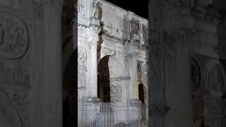 Vertical video. Arch of Constantine. Night. Rome. Italy
