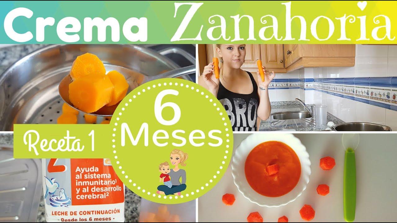 Receta 1 para bebe de 6 meses crema de zanahoria primeras recetas para mi bebe youtube - Papillas para bebes de 6 meses ...